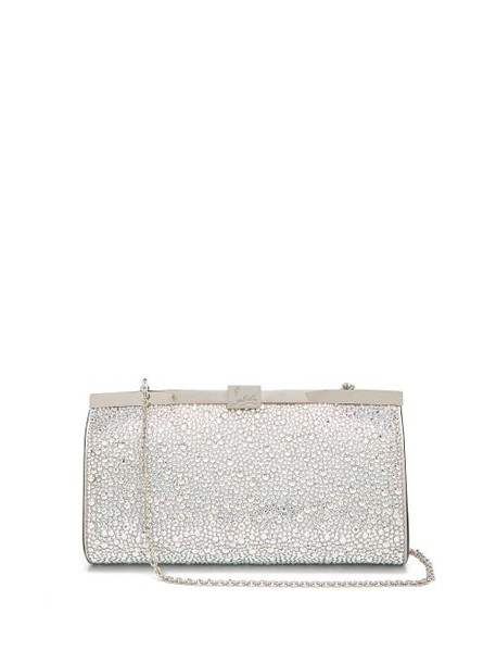 Christian Louboutin - Palmette Crystal Embellished Suede Clutch - Womens - Silver