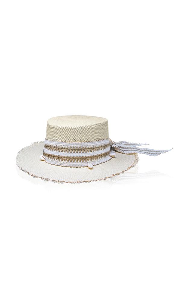 Sensi Studio Cordovez Embellished Frayed Straw Hat in neutral