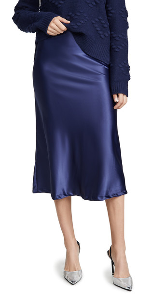 Lioness Bias Midi Skirt in navy