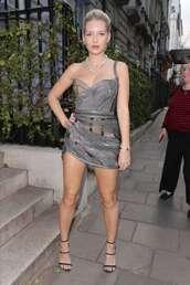 shoes,sandals,sandal heels,celebrity,mini dress,asymmetrical dress,bustier dress,lottie moss