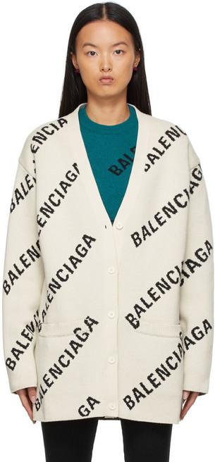 Balenciaga All Over Logo Cardigan in white