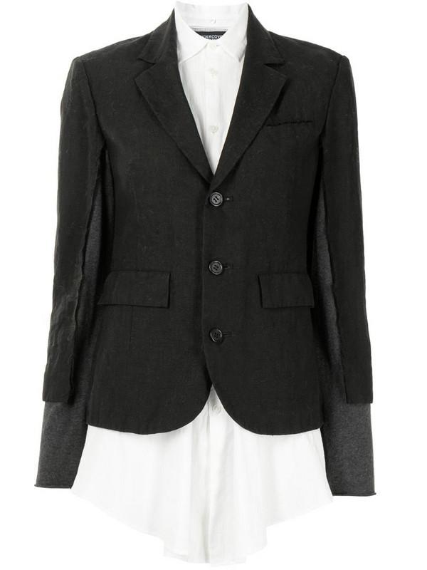 Undercover layered flax blazer in black