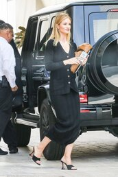 dress,all black everything,mules,celebrity,spring outfits,rosie huntington-whiteley,model off-duty