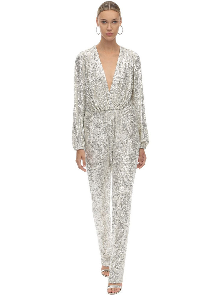 IN THE MOOD FOR LOVE Sequined Jumpsuit in silver