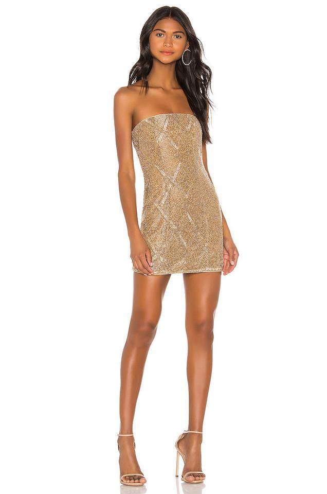 X by NBD Jean Embellished Mini Dress in gold / metallic