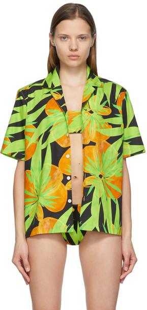 Louisa Ballou Black & Green Large Weekend Short Sleeve Shirt