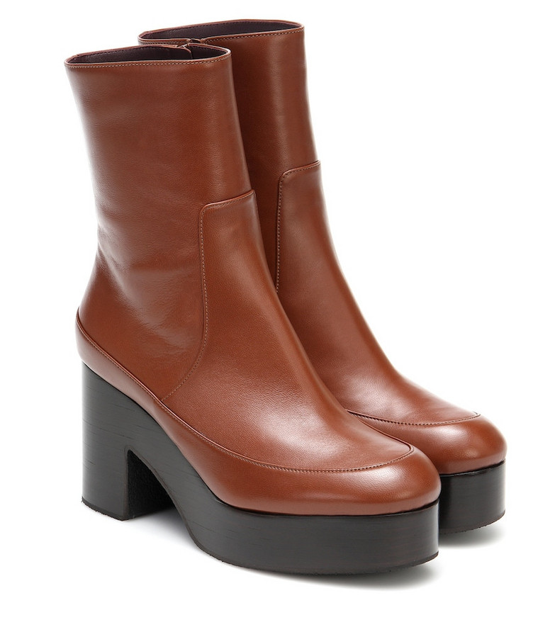 Dries Van Noten Leather platform ankle boots in brown