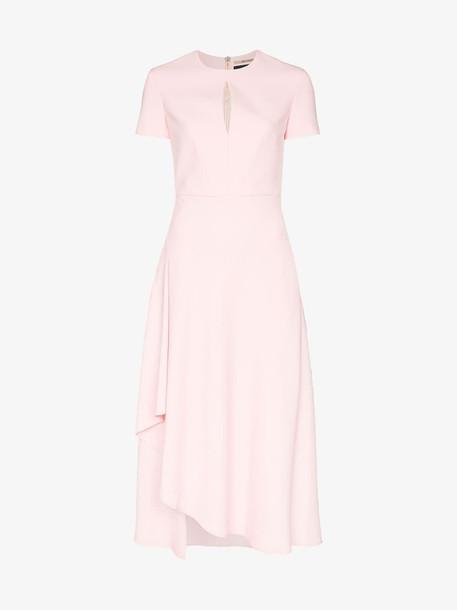Roland Mouret Ardmore flared midi dress in pink