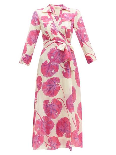 Diane Von Furstenberg - Floral Print Cotton Blend Voile Wrap Dress - Womens - Pink Multi