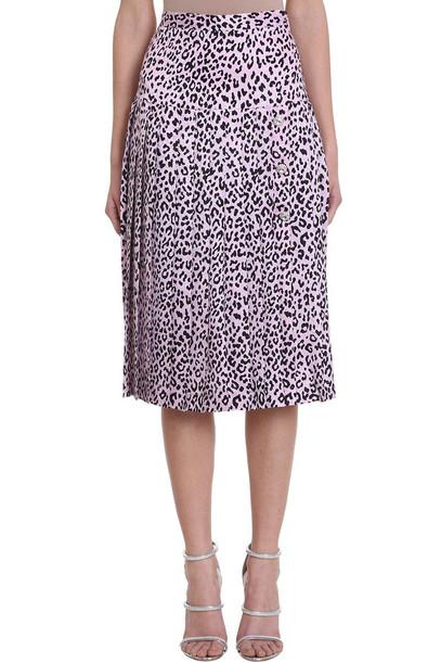 Alessandra Rich Pleated Leopard Print Skirt