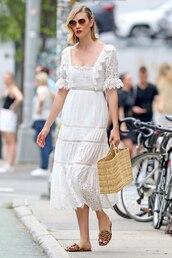 dress,karlie kloss,white,white dress,celebrity,midi dress,summer dress,summer outfits