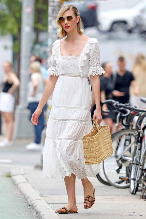 dress karlie kloss white white dress celebrity midi dress summer dress summer outfits