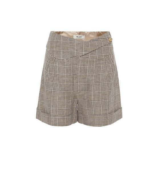 Blazé Milano Basque linen and wool shorts in brown
