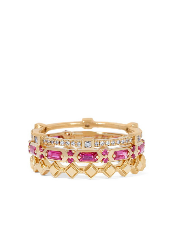 Annoushka 18kt yellow gold diamond sapphire baguette stack ring in pink