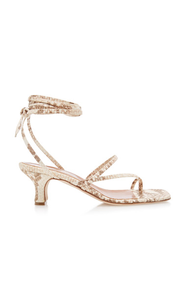 Paris Texas Snake-Effect Leather Sandals in neutral