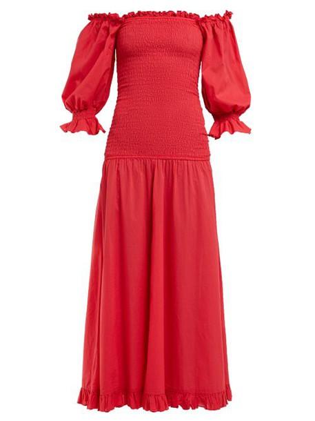 Rhode Resort - Eva Smocked Off The Shoulder Cotton Dress - Womens - Red