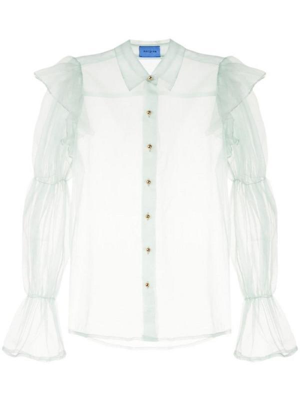 Macgraw Souffle sheer blouse in green
