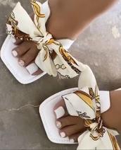 shoes,silk bow slides,slide shoes,flats,bowtie sandals,flat sandals