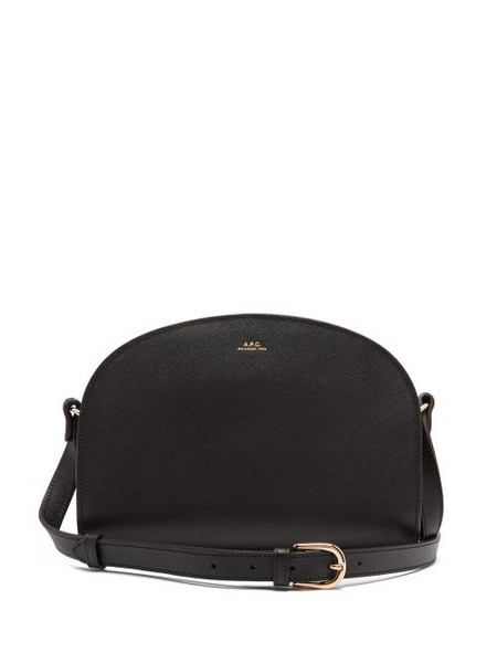 A.P.C. A.p.c. - Half Moon Saffiano Leather Cross Body Bag - Womens - Black