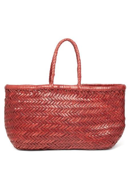 Dragon Diffusion - Triple Jump Woven Leather Basket Bag - Womens - Burgundy
