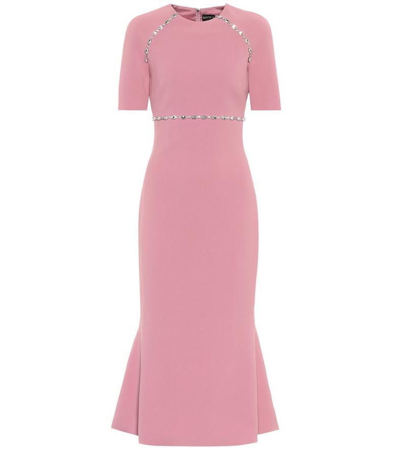David Koma Crystal-embellished cady midi dress in pink
