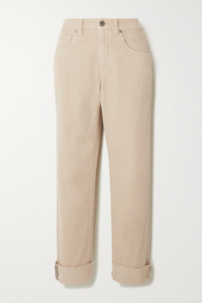 Brunello Cucinelli - Bead-embellished Mid-rise Straight-leg Jeans - Beige