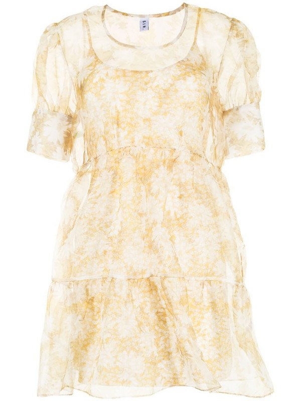 Sir. Anais puff mini dress in yellow