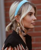 hair accessory,headband,aqua,gold earrings,feathers,black shirt