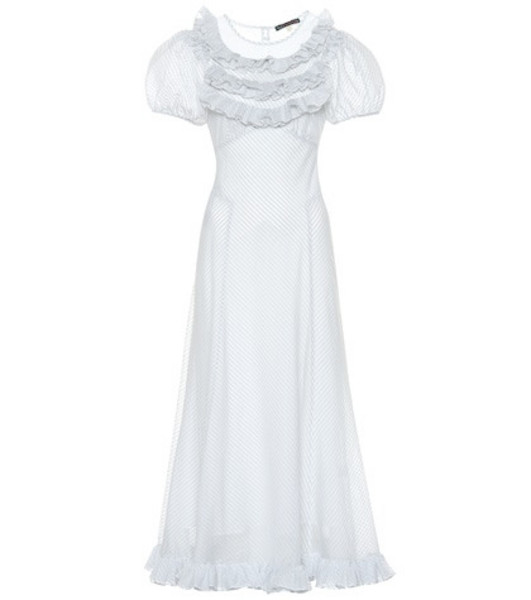 AlexaChung Striped cotton-blend dress in blue
