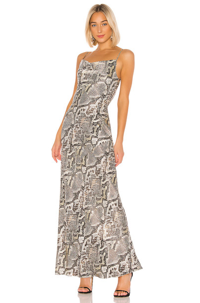 L'AGENCE Arianne Bias Maxi Slip Dress in gray