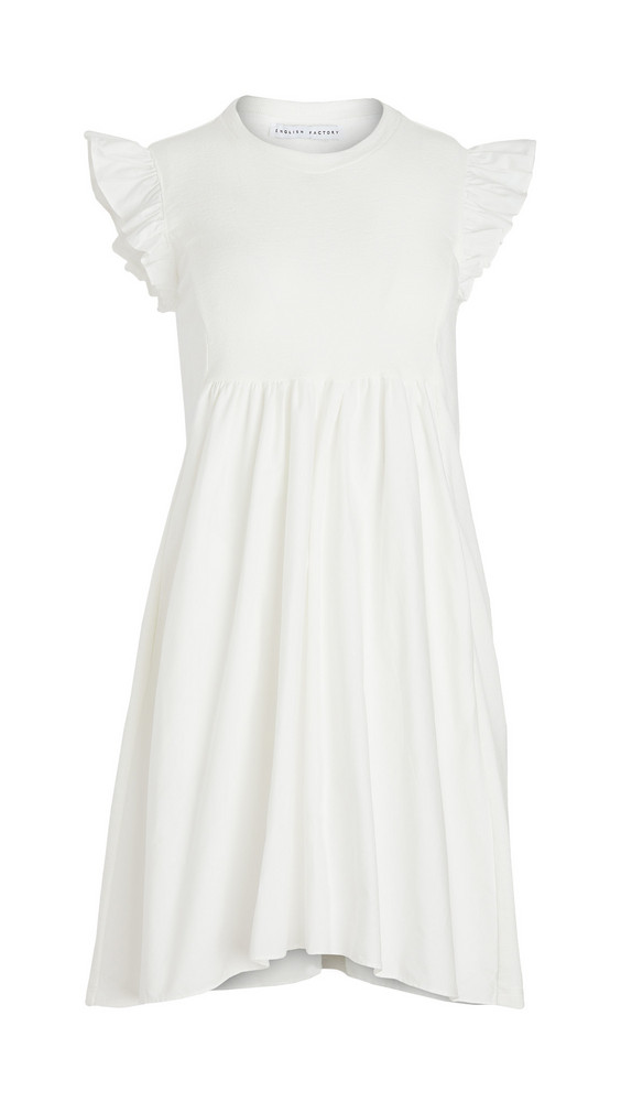 ENGLISH FACTORY Knit Poplin Mixed Dress in white