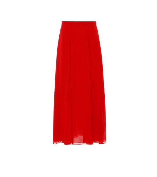 Max Mara Margie silk-chiffon midi skirt in red