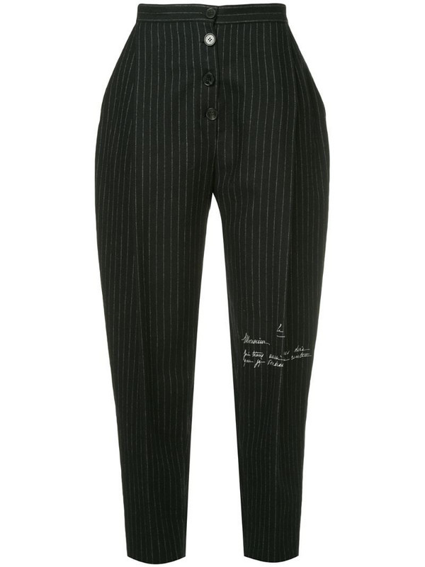 Ruban cropped striped trousers in black