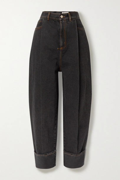 Alexander McQueen - Pleated High-rise Jeans - Black