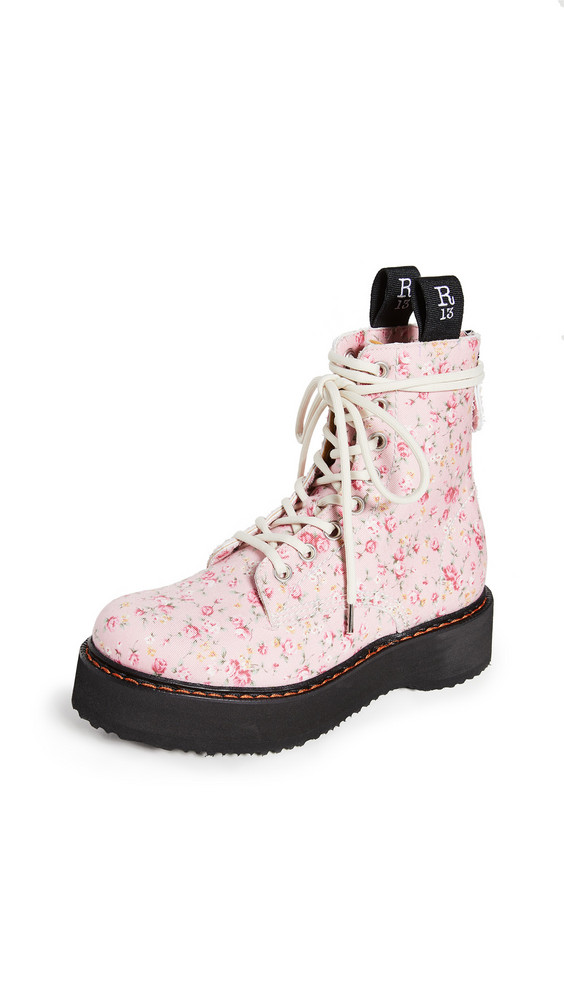 R13 Single Stack Lace Up Boots in pink