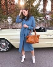 coat,trench coat,blue coat,long coat,brown bag,michael kors,ankle boots,white boots,midi dress