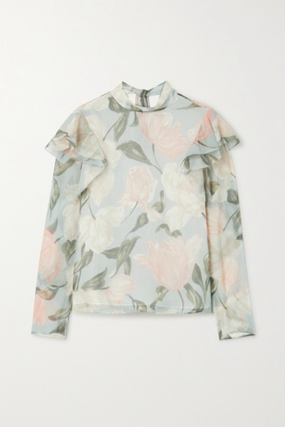 Jason Wu Collection - Pussy-bow Ruffled Floral-print Silk-crepon Top - Light gray