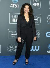 jumpsuit,pants,america ferrera,celebrity,all black everything,blazer