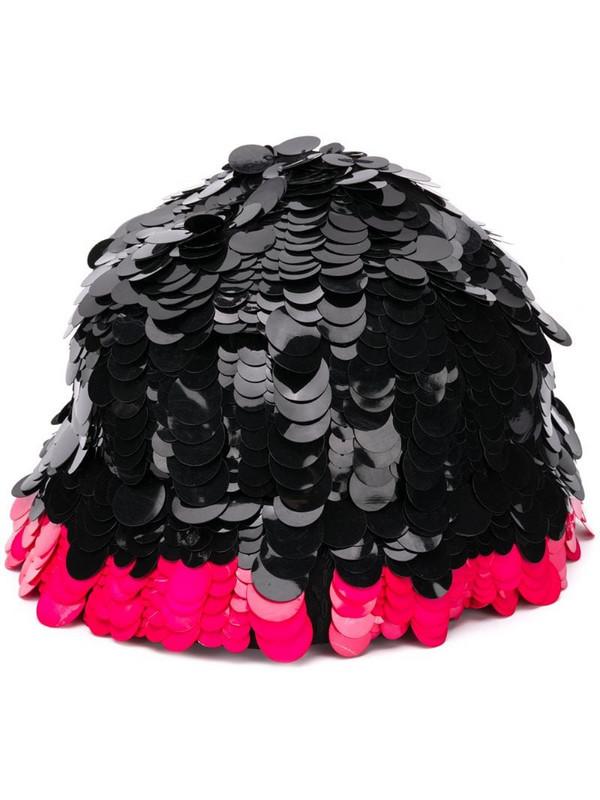 Marni embellished contrast hat in black