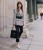 bag,gucci bag,black bag,shoulder bag,pumps,black jeans,cropped jeans,grey blazer,ralph lauren,belt,white top