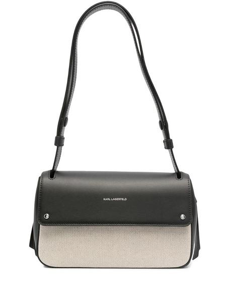 Karl Lagerfeld K/Ikon panelled shoulder bag in black