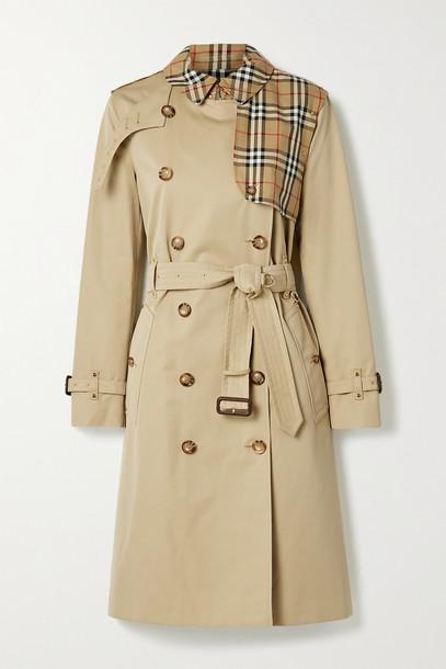 BURBERRY - Hern Embellished Cotton-gabardine Trench Coat - Neutrals