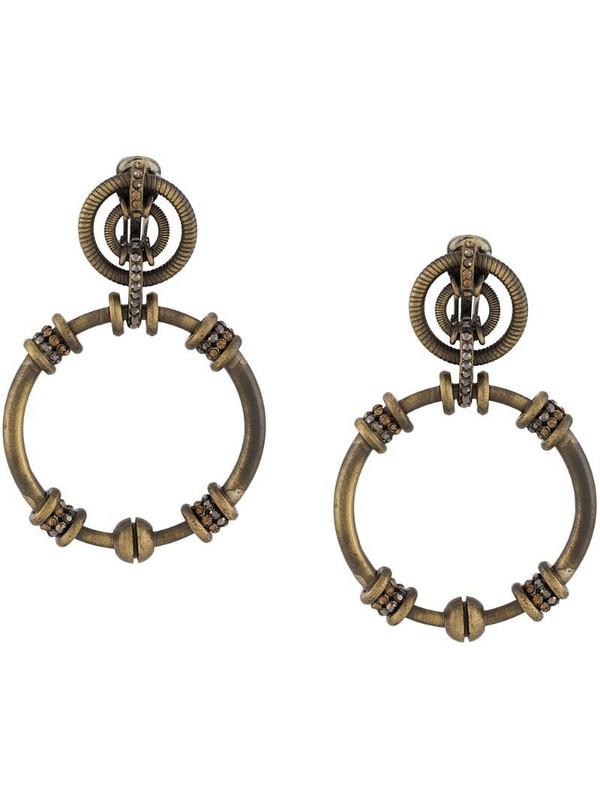 Gianfranco Ferré Pre-Owned 1990s rhinestone-embellished dangling hoop earrings in metallic
