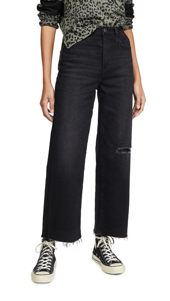 AG The Etta High Waisted Wide Leg Crop Jeans in black
