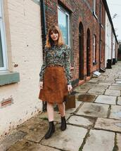 skirt,suede skirt,midi skirt,black boots,lace up boots,chloe,shirt,brown bag,bucket bag