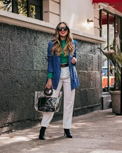 bag,pvc,black boots,heel boots,high waisted pants,white pants,double breasted,blazer,gucci belt,green sweater,turtleneck sweater