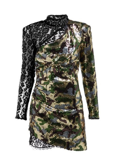 Dundas - Camouflage And Leopard Lace Sequinned Mini Dress - Womens - Green Multi