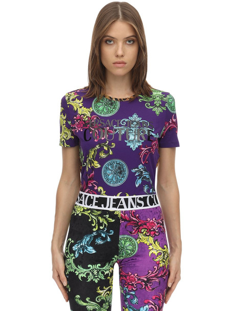 VERSACE JEANS COUTURE Printed Cotton Jersey T-shirt in purple