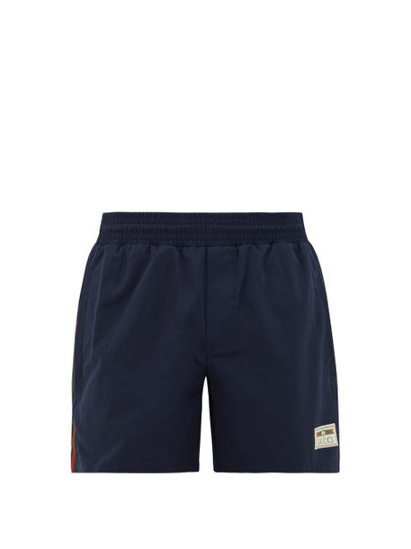 Gucci - Web-stripe High-cut Swim Shorts - Mens - Blue