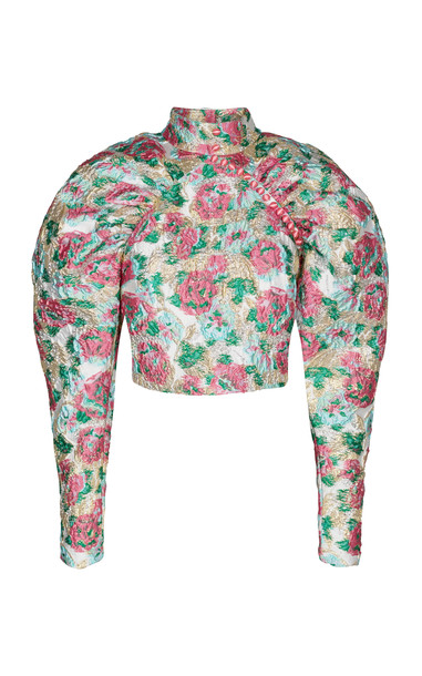 ROTATE Kim Ruched Floral-Jacquard Top Size: 34